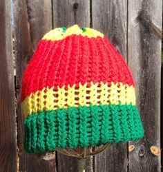 Green yellow and red beanie