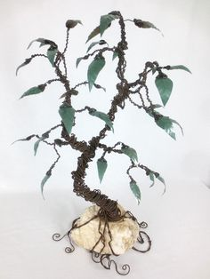Twisted Barbed Wire Tree With Metal Leaves  Reclaimed Sculpture