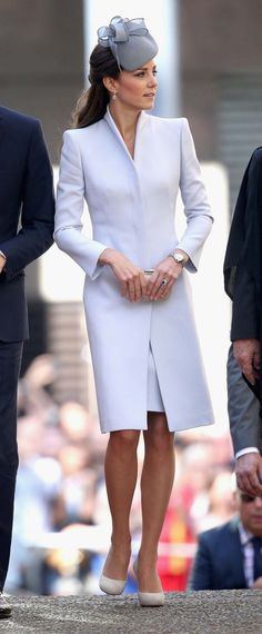 Catherine, Duchess of Cambridge. I just adore this look, especially the hat (naturally!) and the collar of her coat.