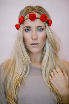 Reign of Flowers Crown, Boho Music Festival Headband Hair Accessories, Fashion Headbands with Flowers in RED