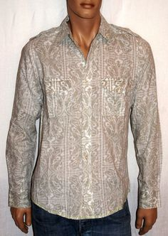 "Wonderful Boho All Cotton Damask Man Shirt Size L Vintage Camicia Uomo Cotone Manica Lunga Beige Damascata Bianca Taglia L ""Vintage Red"" di BeHappieWorld su Etsy"