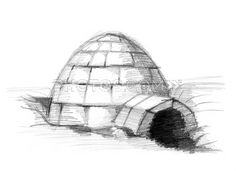 Stock Illustrations: Eskimo Igloo Pencil Drawing Sketch