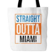 """Straight Outta Miami Baseball Tote Bag, 18"""" x 18"""""""