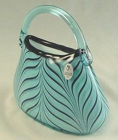 """Ada's Feathered Purse"" in Celeste Blue & Black  by Dave Fetty"