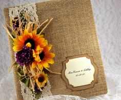 Sunflower Wedding Album, Burlap Photo Album, 8x10 Wedding Scrapbook, Photo Album, First Anniversary Gift,