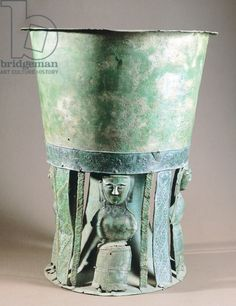 Etruscan bronze goblet decorated with female figures. C.750 BC Villa Giulia national Etruscan museum Rome