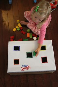 This drop-and-sort LEGO activity from Toddler Approved teaches so many essential preschool skills Lego Activities, Toddler Learning Activities, Color Activities, Kids Learning, Family Activities, Toddler Play, Toddler Crafts, Crafts For Kids, Lego Brick