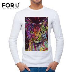 FORUDESIGNS 2017 Spring Summer 3D Man T Shirt Graffiti Pet Cat Print Top Tees Men Long Sleeve Slim Fit tShirt Camiseta masculina #Affiliate