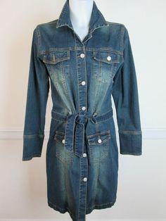 ZENAH Denim Blue Jean Jacket Dress Coat Size L #ZENAH #JeanJacket