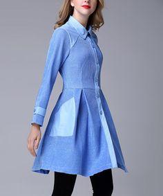 Blue Pocket Princess Coat - Plus Too