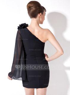 Sheath/Column One-Shoulder Short/Mini Chiffon Cocktail Dress With Flower(s) (008017161)