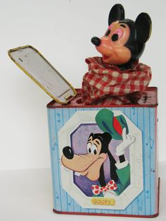 MICKEY MOUSE Toy Wind Up Crank Jack in the by FindingMaineVintage, $86.25
