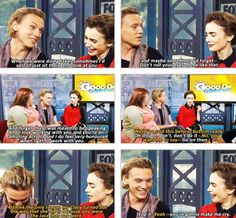 Haha an interview on tv with The Mortal Instrument: City of Bones' author Cassandra Clare, Jamie Campbell Bower (to play Jace Wayland) and Lily Collins (to play Clary Fray). This is so cute! They are so sweet, OMG!