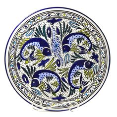 Aqua Fish 15-inch Round Platter (Tunisia)