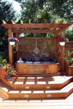 Ideas Hot Tub Deck With Wood Pergola CoverExterior Ideas Hot Tub Deck With Wood Pergola Cover Kilb_cedar Varanda de Pallets - Beautiful balcony hot-tub-pergola-idea 35 Cozy Outdoor Hot Tub Cover Ideas You Can Try Diy Pergola, Hot Tub Pergola, Hot Tub Deck, Hot Tub Backyard, Hot Tub Garden, Jacuzzi Outdoor, Wood Pergola, Backyard Patio, Pergola Cover