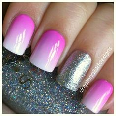 Pink to white ombre with silver sparkle accent nail manicure.