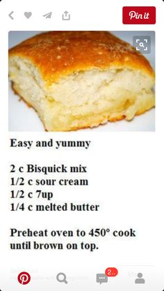 Bisquick easy Biscuits…previous pinner said….Everyone raved and two batches … Bisquick easy Biscuits…previous pinner said….Everyone raved and two batches were gone in seconds. Bread Recipes, Cooking Recipes, Yummy Recipes, Cooking Fish, Def Not, Good Food, Yummy Food, Favorite Recipes, Easy Biscuits