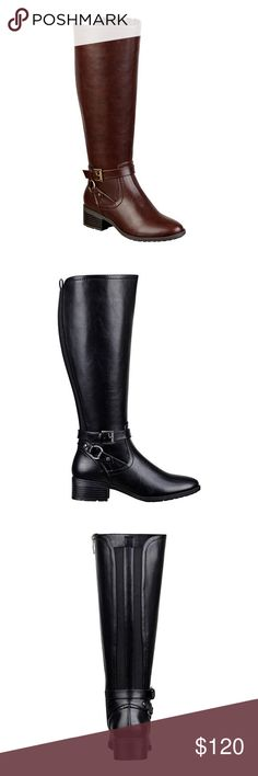 """SALELiz Claiborne wide calf Gabrey boot, 7M(B) Liz Claiborne wide calf Gabrey riding boot, sz. 7M(B). Available in brown only. New - no box. Featuring a zipper for ease of entry and a tall, ornament-accented design, these riding boots are perfect for chic style and all-evening comfort. synthetic upper 1½"""" heel pull on elastic gore rubber sole Bundle discounts available! Sorry no trades  Like what you see? Please check out all my listings and follow me! Instagram: dejavuapparel Pinterest…"""