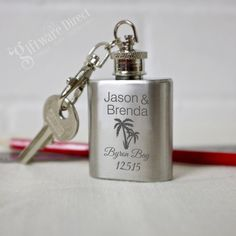 Wholesale pricing on personalised mini hip flask keyring, Fast delivery and unique designs with professional engraving. Personalised Hip Flask, Personalized Wedding Favors, Wedding Favours, Mini, Perfect Wedding, Wedding Engagement, Flasks, Bridal, Party