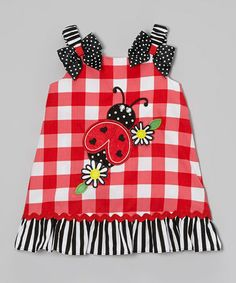 Take a look at this Black & Red Gingham Ladybug Swing Dress - Infant, Toddler & Girls by Youngland on #zulily today!