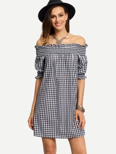 Blue White Plaid Off The Shoulder Shirt Dress