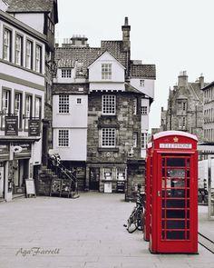 Red Phone Box Edinburgh Print Royal Mile Scotland by AgaFarrell