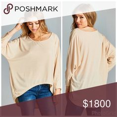 *coming soon loose fit hi-lo top Loose and breezy, this top with a rounded neckline and slight hi-lo gets you through any season Tops