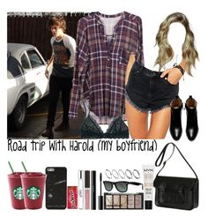 """Road trip with Harold (my boyfriend)"" by jaynnelinsstyles ❤ liked on Polyvore featuring Lush Clothing, Madewell, ASOS, Zara, The Cambridge Satchel Company, NYX, H&M, shu uemura, Becca and philosophy"
