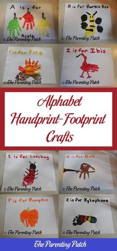 Make handprint and footprint crafts for each letter of the alphabet using nontoxic paint. #artsandcraftsideas,