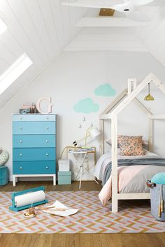 free plans to build a kid's bed inspired by this unique house frame twin bed...#remodelaholic...