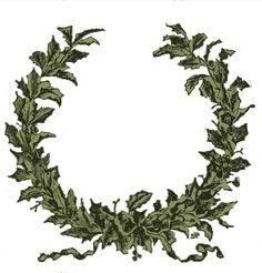 Vintage Clip Art - Holly Wreath Frame - The Graphics Fairy