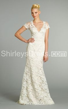 Captivating V-Neck Lace Over Charmeuse Dress With Short Sleeve and Sheer Back  'ShirleysDress.com