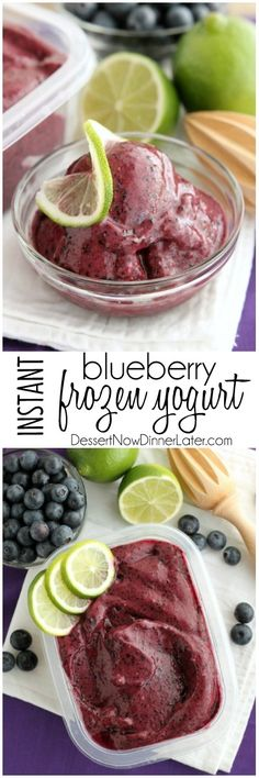 Instant Blueberry Frozen Yogurt // 4 ingredients, ready in 5 minutes or less in food processor or blender #snackattack #healthy