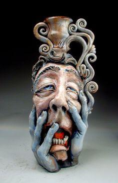 Misery Face Jug folk art sculpture raku pottery by Mitchell Grafton Raku Pottery, Pottery Sculpture, Sculpture Clay, Pottery Art, Sculptures, Keramik Design, Face Jugs, Ceramic Clay, Ceramic Artists