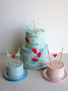 boygirl twins cake 810 rounds with pink blue polka dots