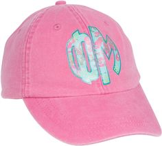 Protect your face from the hot sun with the Phi Mu pink adjustable hat. Phi Mu Letters, Beach Bag Essentials, School Essentials, Phi Mu Shirts, Cute Caps, Floral Letters, Sorority Outfits, Pink Hat, Powder Pink