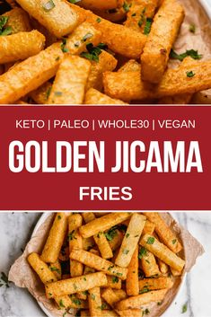 Are you missing french fries? Try these golden jicama fries. These baked jicama fries are a perfect side dish for those following keto, low carb, paleo, whole30, and vegan diets. Ditch the french fries and try these baked jicama fries. #realbalancedblog #jicamafries #ketorecipes #whole30 #paleorecipes