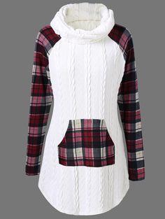 Cable Knit Plaid Trim Sweater
