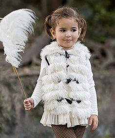 Look at this #zulilyfind! Créme Fringe Chiffon-Trim Vest - Toddler & Girls by Mia Belle Baby #zulilyfinds