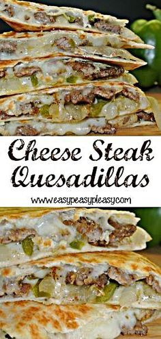 Change up your normal Quesadillas with these crowd pleasing Cheese Steak Quesadillas. It's the perfe - Change up your normal Quesadillas with these crowd pleasing Cheese Steak Quesadillas. Mexican Food Recipes, Beef Recipes, Dinner Recipes, Healthy Recipes, Recipes With Steak, Cheese Steak Sandwich Recipe, Philly Cheese Steak Seasoning, Philly Steak Sandwich, Philly Cheese Steaks