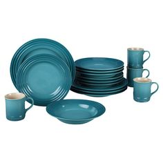 16-piece stoneware dinnerware set in Caribbean. Dishwasher safe.    Product: 4 Dinner plates 4 Salad plates4 Soup b...