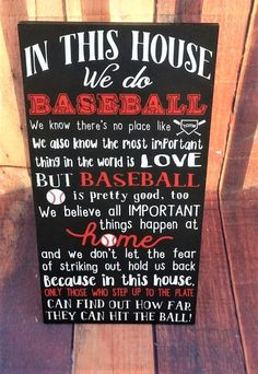Baseball Decor, Baseball wood sign, We do Baseball, In This House We do Baseball Espn Baseball, Marlins Baseball, Baseball Pitching, Baseball Boys, Baseball Season, Baseball Shirts, Baseball Field, Razorback Baseball, Decoration Crafts