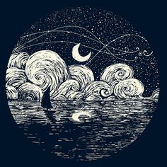 Starry Night with reflection delight. Art Inspo, Kunst Inspo, Art And Illustration, Posca Art, Art Design, Painting & Drawing, Moon Drawing, Shadow Drawing, Printmaking