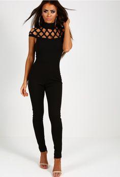 Latina Black Cage Top Jumpsuit