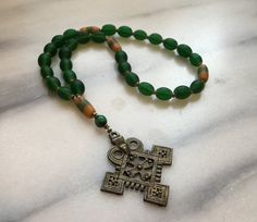 Emerald Green African Trade Beads  Anglican Rosary  Protestant Prayer Beads    Episcopal Rosary  Green  Prayer Beads  Product id ROSGTB117