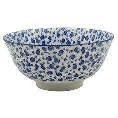 Patterned Cereal Bowl - White and Blue Daisy Nicola Spring Cereal Bowls