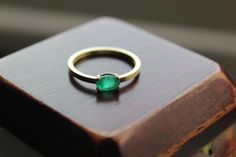 Emerald Ring with Gold Band in 14k | Emmaline Bride