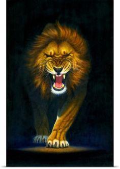 Chris Hiett Poster Print Wall Art Print entitled Stalking Lion, None