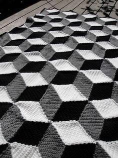 Isometric Blanket / Afghan - Geometric Black White & Grey Crochet. via Etsy.