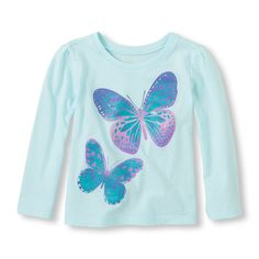 Long Sleeve Double Butterfly Graphic Tee
